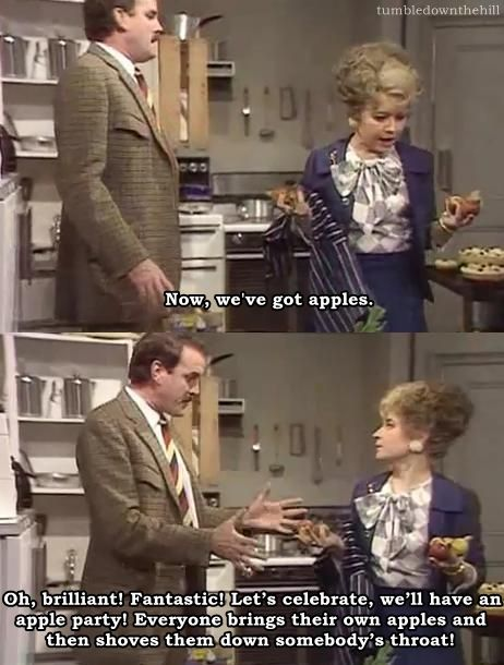 Fawlty Towers How to make a waldorf salad. This line makes me laugh EVERY time.
