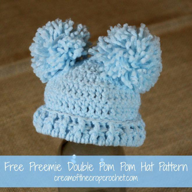 Cream Of The Crop Crochet Preemie Double Pom Pom Hat