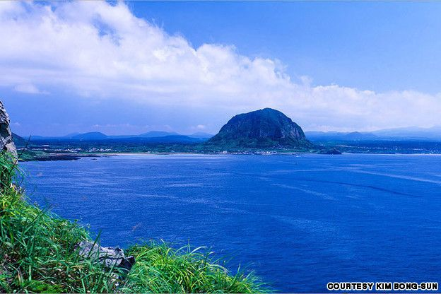 Songaksan, this Jeju volcanic mountain has a crater spanning 500 meters in diameter  Sangmo-ri, Daejeong-eup, Seogwipo-si, Jeju Island