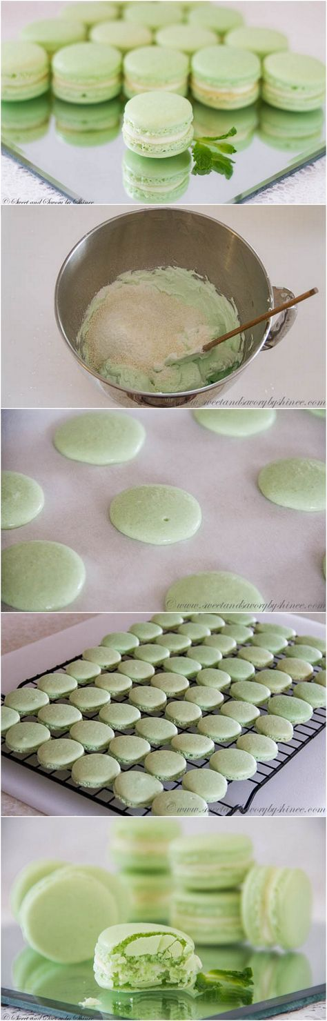 Perfect for St. Patrick's Day! Step-by-step photo recipe for minty french macarons