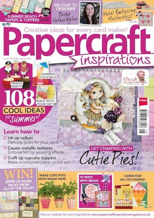Issue 128 of @papercraftinsp [June2014]. This issue features my 'Metal Embossing Masterclass' and my '10 Ways with Brads'. Just in case you've got hundreds of brads still left over from ... whenever you bought them all. In bulk.
