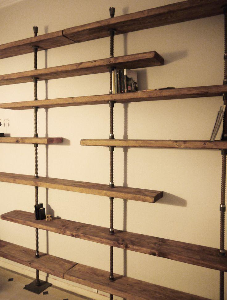Librer a a medida en hierro y madera reciclada la noble - Estanterias a medida ...