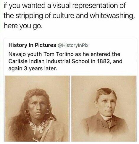 """And at the same time that Native American children were being sent to reform schools, stripped of their culture + heritage, White people were dressing up as """"savage Indians."""" This is why cultural appropriation is a thing; we'll strip others of their culture, but WE can wear it because """"it's cute~""""?"""