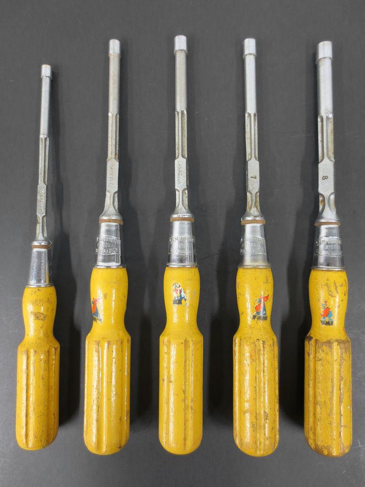 """Vintage Hexagonal Screwdrivers Tools by Sam, Long 11"""" Long Wood Handle Tools"""