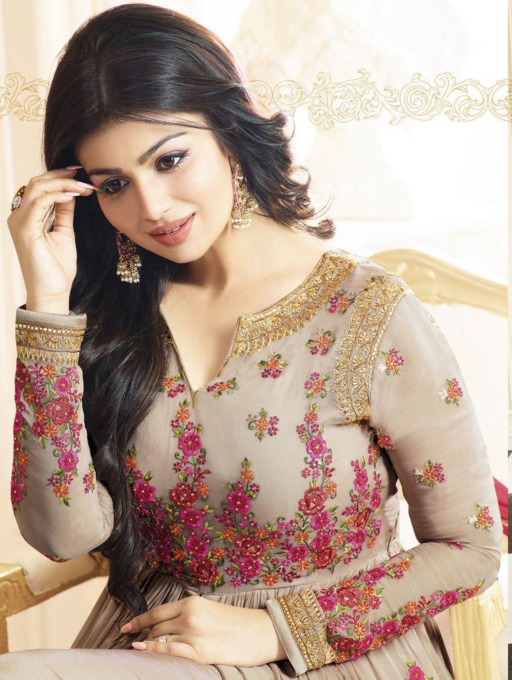 #Beige #Floral #Embroided #Crafted #Designer #Anarkali #Suit