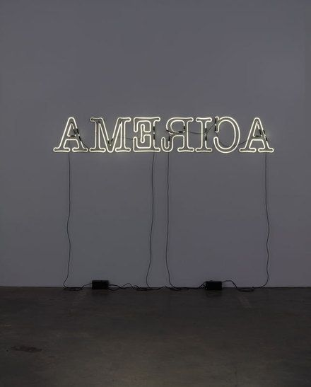 Glenn Ligon (b. 1960), Rückenfigur, 2009. Neon and paint, 24 × 145 in. (61 × 368.3 cm). Whitney Museum of American Art, New York; purchase with funds from the Paint and Sculpture Committee  T.2010.71. © Glenn Ligon