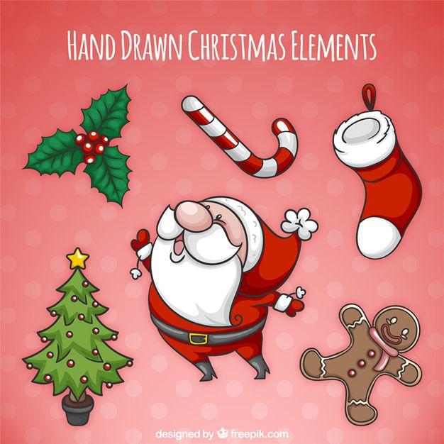 Paczka pięknym ręcznie rysowane elementy świąteczne Darmowych Wektorów