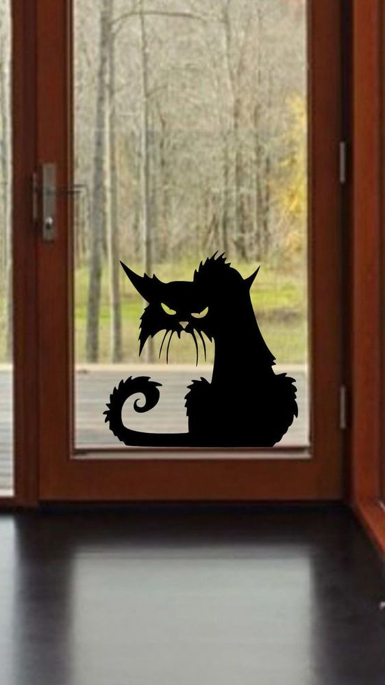 scary cat halloween wall window decal vinyl sticker decor - Halloween Window Decor