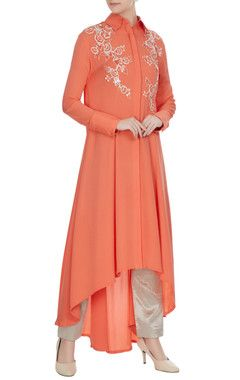 50033173e59 Manish Malhotra Coral double georgette sequin embroidered tunic ...
