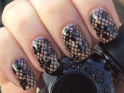 : Black Lace, Emily Nails, Nails Art, Cute Nails, Beautifi Nails, Nails Design, Lace Nails, Flowers Nails, Fishnet Nails