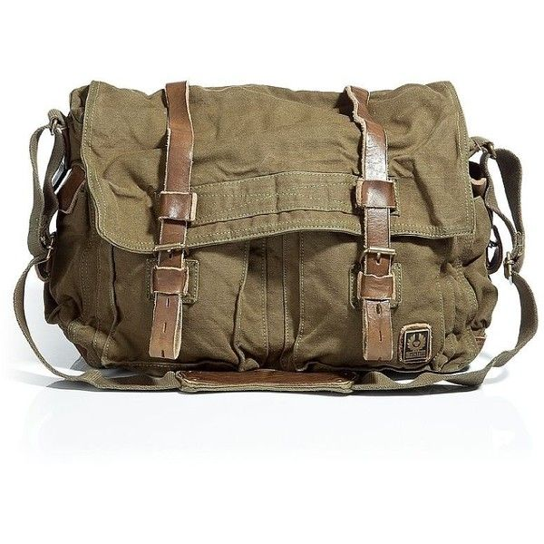 BELSTAFF Military Green Large Shoulder Bag 554 ($301) ❤ liked on Polyvore featuring bags, handbags, shoulder bags, accessories, purses, brown shoulder bag, leather hand bags, shoulder handbags, handbags shoulder bags and leather handbags