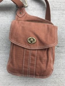 Fossil Brand Issue 1954 American Classic Brown Canvas Cross body Turn lock Bag  | eBay