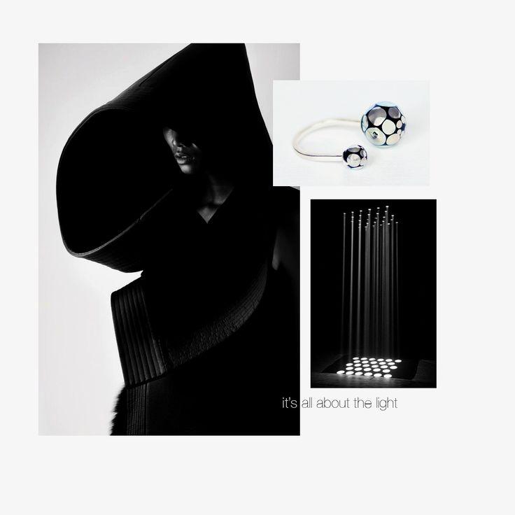 Black&Silver glass double ball ring / 27JEWELRY / handmade luxury jewelry