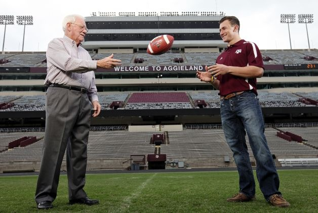 Portrait of 1957 Heisman Trophy winner Texas A running back John David Crow (left) and current Texas A freshman quarterback Johnny Manziel, who is a Heisman finalist, Tuesday Dec. 4, 2012 at Kyle Field in College Station, Tx. Photo: Edward A. Ornelas, San Antonio Express-News / © 2012 San Antonio Express-News