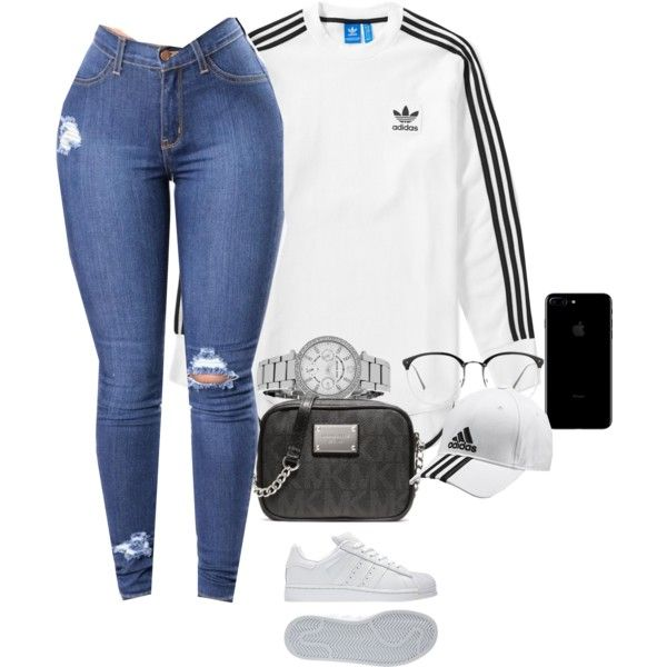 A fashion look from February 2017 featuring adidas t-shirts, Michael Kors shoulder bags and Michael Kors watches. Browse and shop related looks.