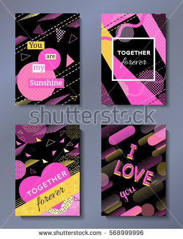Valentine's day greeting cards set in trendy 80s-90s memphis style with geometric patterns and shapes. Vector illustration with lettering and colorful background.