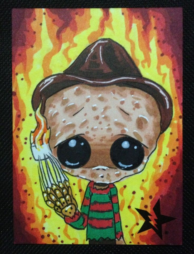 Sugar Fueled Freddy Krueger Nightmare Elm St Creepy Cute Big Eye ACEO Mini Print | eBay