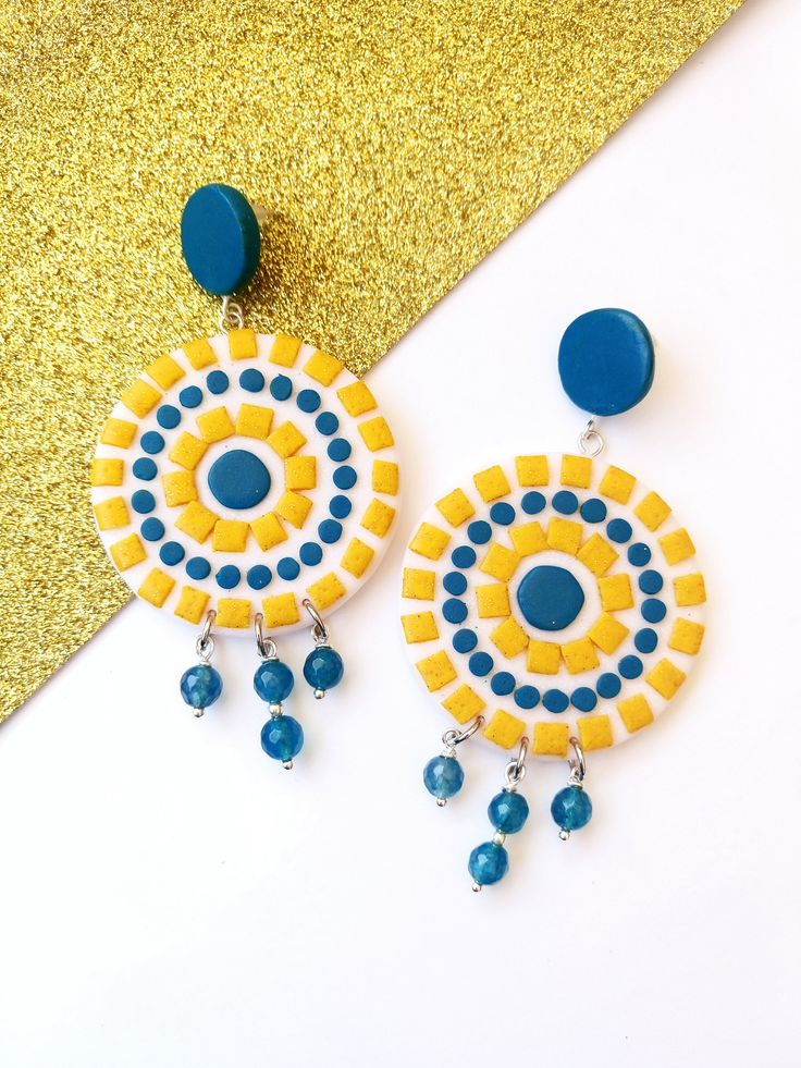 Large Statement Earrings, Colorful Mosaics, Polymer Clay Jewelry, Occasion Jewellery, Huge Geometric Circle Summer Earrings by BeeJouJoux on Etsy