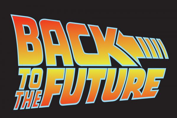sticker bttf Marty Mcfly Delorean Back to the Future 2 movie logo style decal