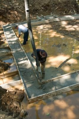 Footing- a continuous concrete base that supports the foundation walls below ground level. Used to support the house.