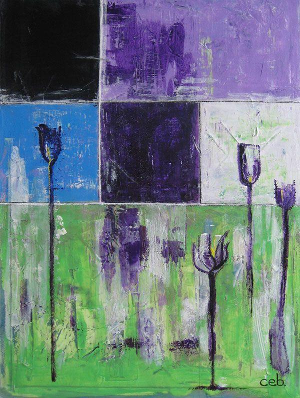 Abstrakt maleri i klare farver grøn, blå, lilla . Navnet er Sommermark og har en fantastisk udstråling.