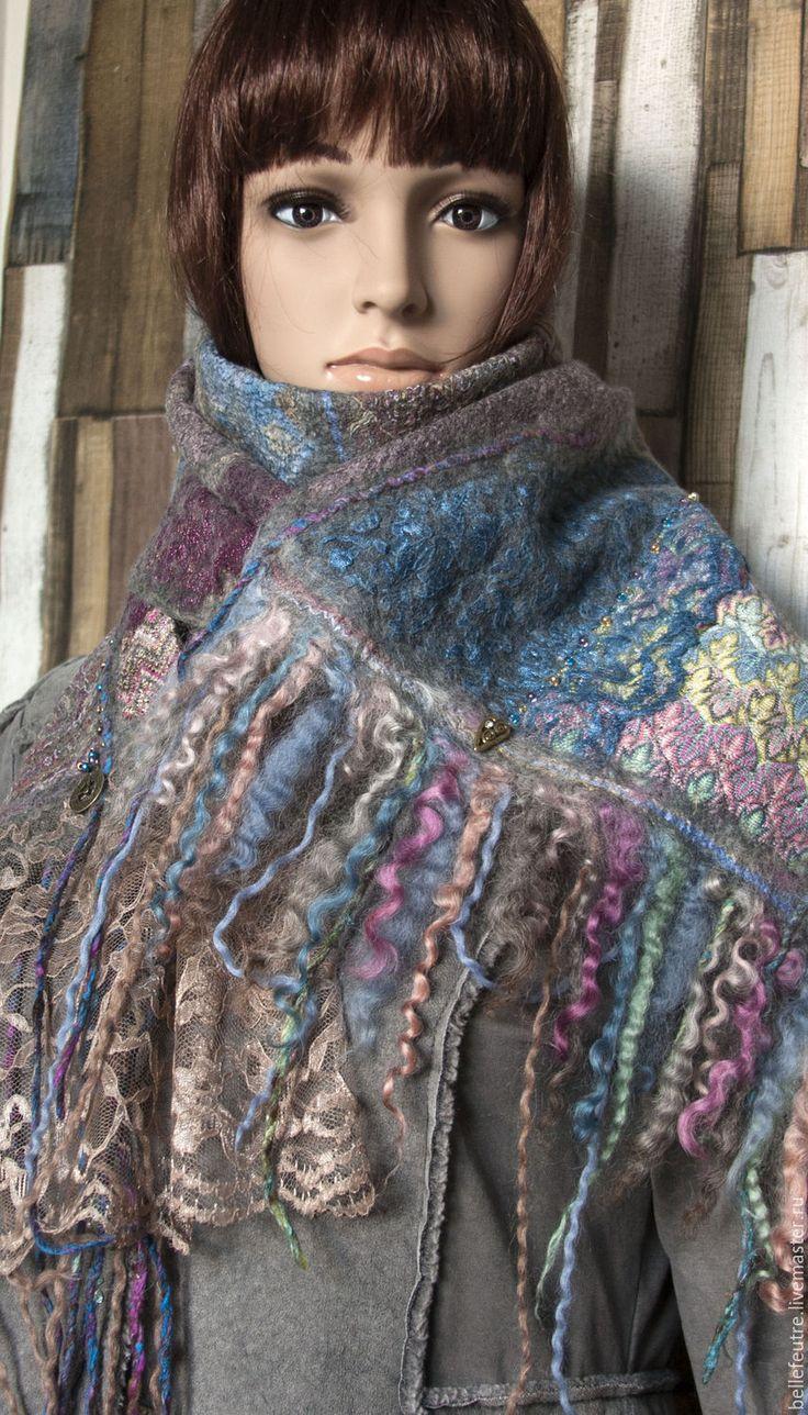 """Купить Шарф """"Из зимы в лето"""" - серый, миссони, кружевной шарф, шарф, шарф женский"""