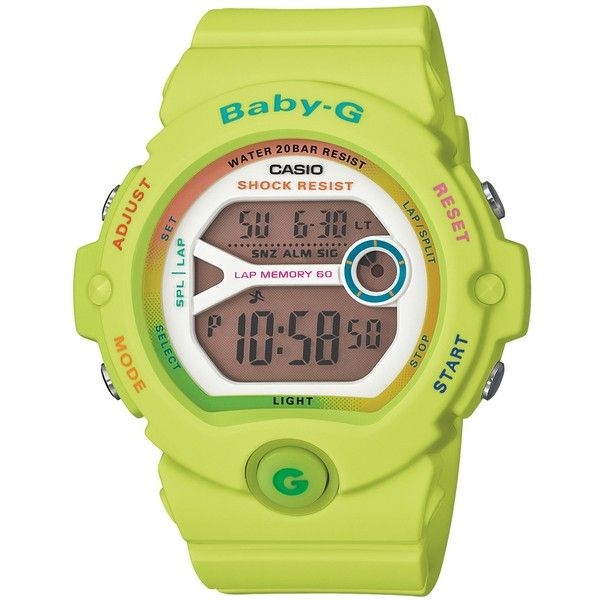 Casio Women's Baby G Resin Strap Watch , Lime Green/Brown ($115) ❤ liked on Polyvore featuring jewelry, watches, chrono watch, digital watches, chronograph watches, alarm chrono watch and digital wrist watch