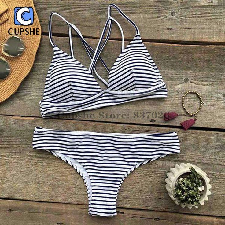 Cupshe Hit Summer Stripe Bikini Set Women Summer Sexy Swimsuit Ladies Beach Bathing Suit swimwear