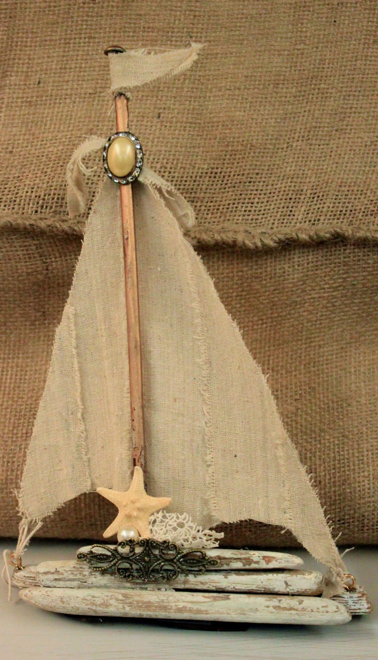 Driftwood Sailboat with Linen Sails. $26.00, via Etsy.