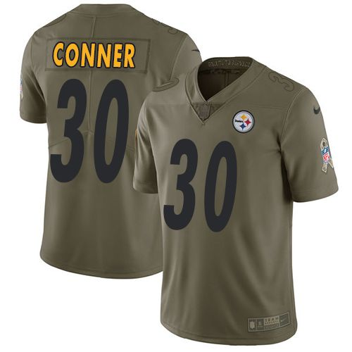 Nike Steelers #30 James Conner Olive Men's Stitched NFL Limited 2017 Salute to Service Jersey