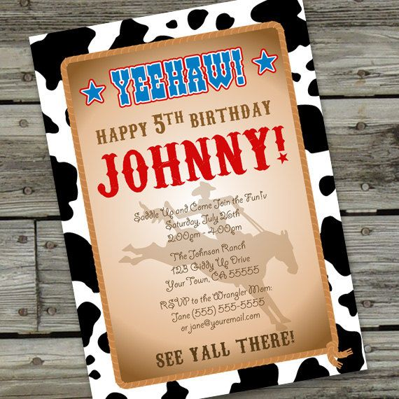 cowboy cowgirl birthday invitation printable diy invitations