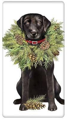 FLOUR SACK TEA DISH TOWEL CHRISTMAS BLACK LABRADOR LAB DOG MARY LAKE THOMPSON