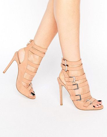 Embor multi buckle shoe boots by Asos. Shoes by ASOS Collection, Faux-suede upper, Multi-strap design, Pin-buckle fastenings, Open toe, High stiletto heel, ...