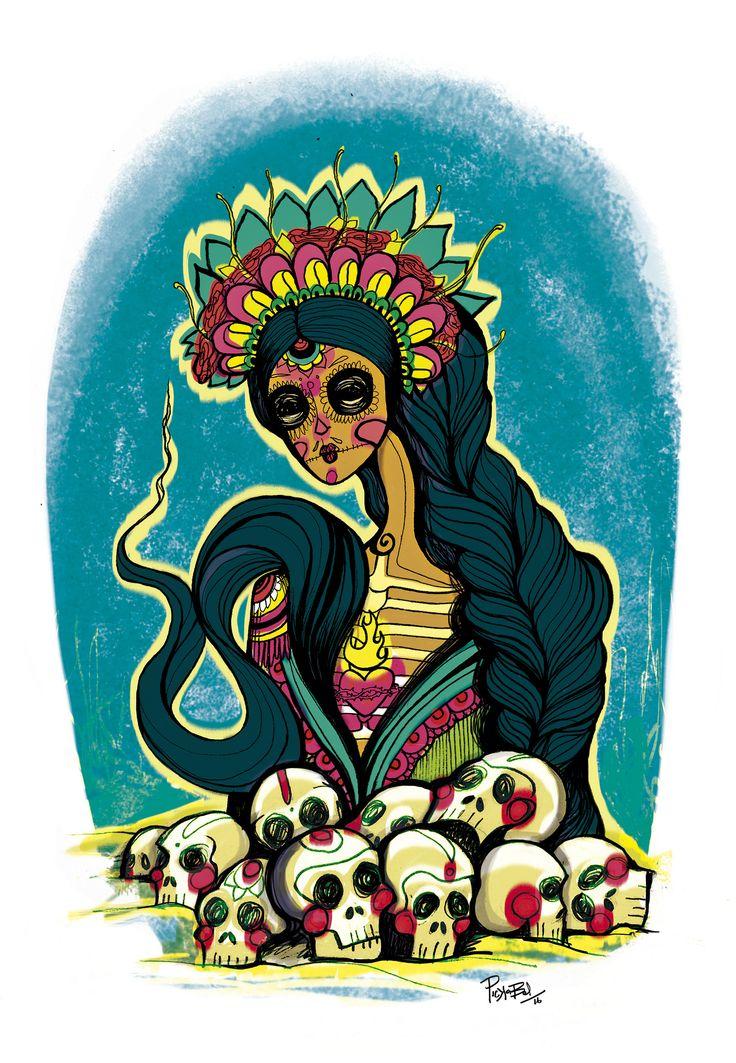 https://flic.kr/p/G1qumG   Santísima muerte   Ilustración hecha por encargo   Técnica mixta (linea manual y color y agregados digitales)   Día de los muertos. Arte mixto y digital   Ilustración por PickaBel