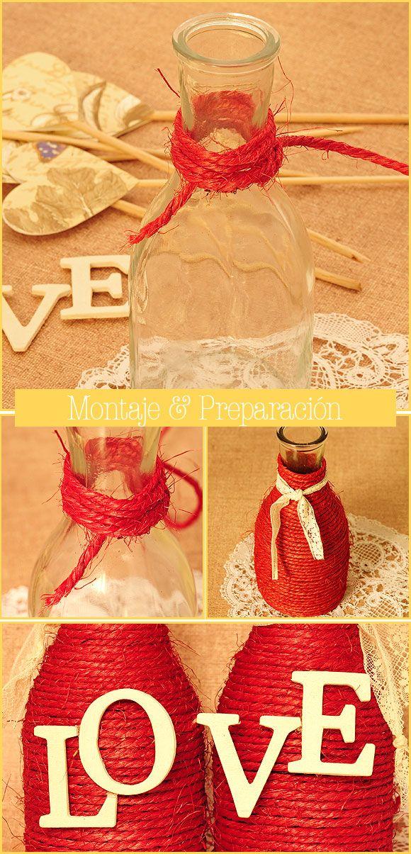 DIY para bodas - jarrones de cristal forrados con cuerdas . Montaje y preparación.