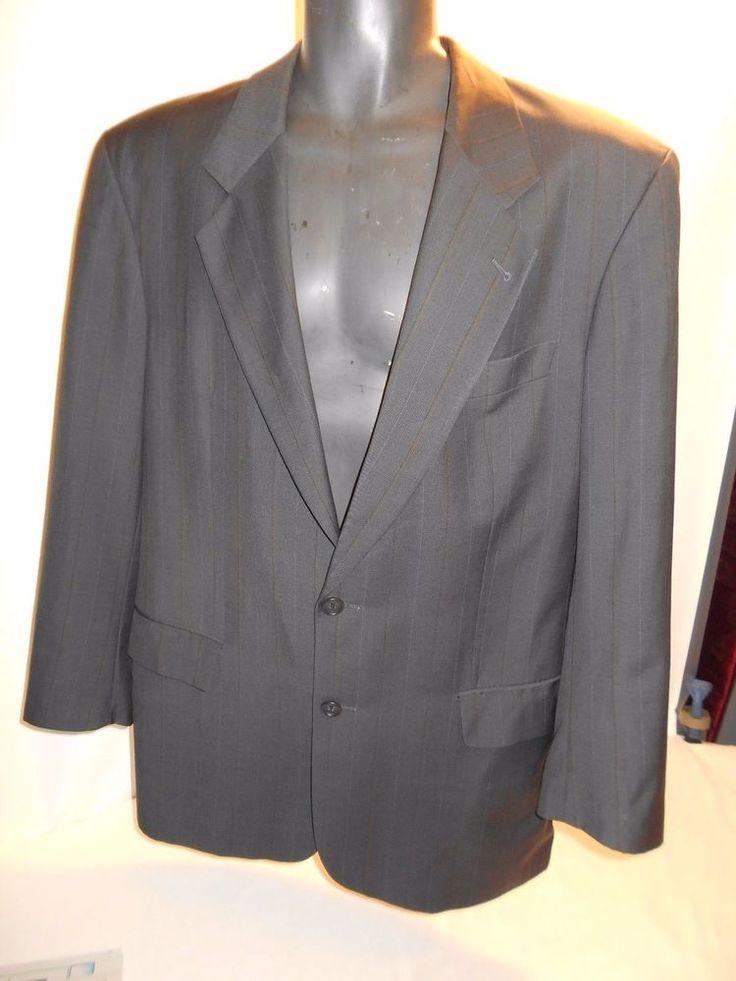 HUGO BOSS Men's Black 3 Button V Neck Blazer Jacket Dress Suit Sz 52 MINT office #HUGOBOSS #ThreeButton