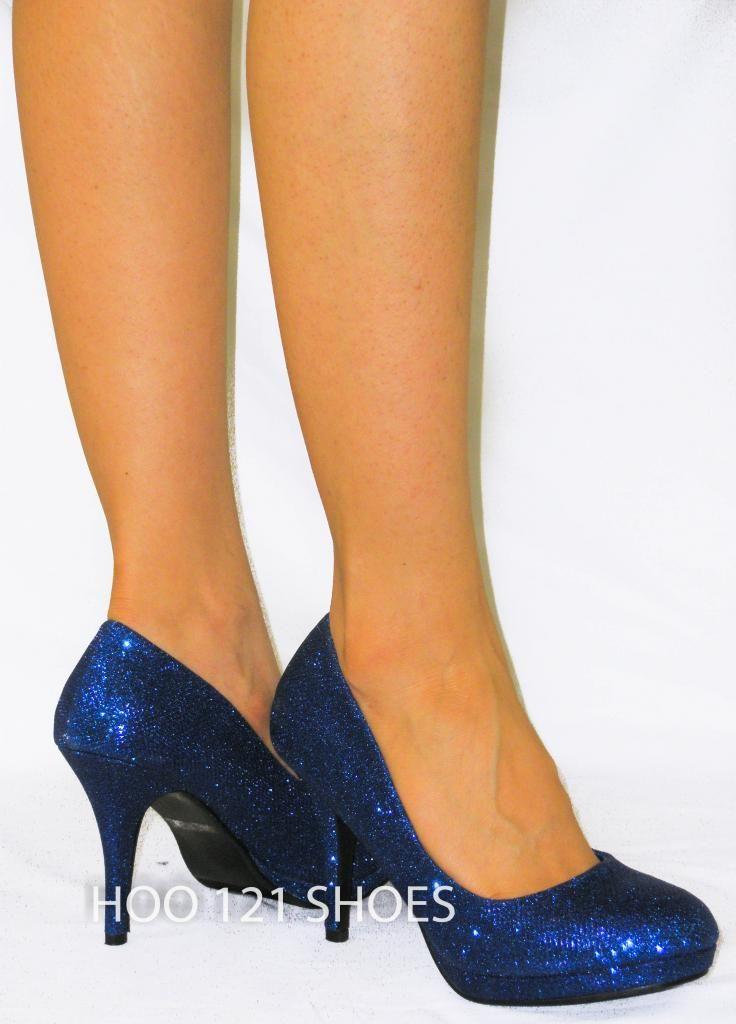 Glitter Sparkle Round Toe High Platform Stiletto Pump Comfy Heel Royal Blue 7 | eBay