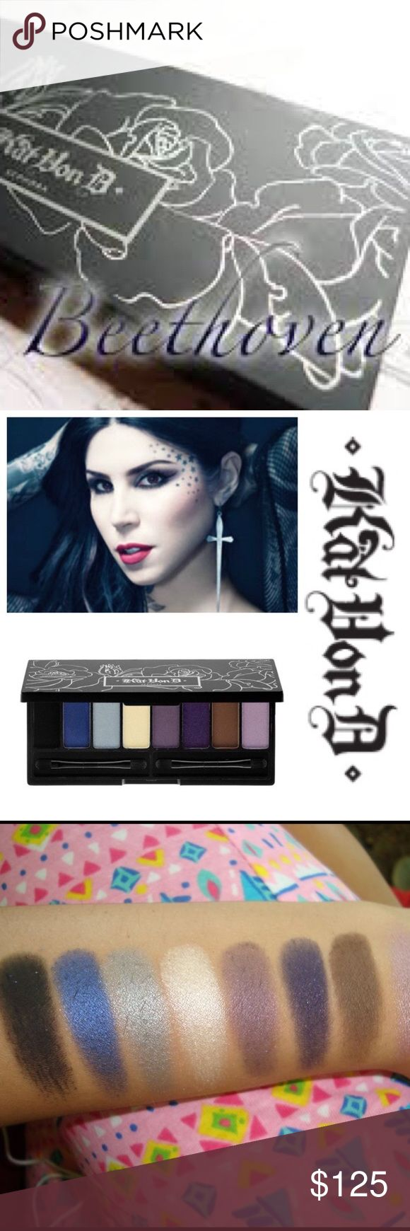 🎹🎼Kat Von D- Beethoven Eye Palette!! 🎼🎹 🌟💯🙌 100% Authentic & AMAZING!!!!! 🌟💯🌟 Ugh it almost hurts me to let this gem go! This is an extremely RARE and WANTED palette by Kat!! 🙌🙌 One of her first palettes ever made and one of her personal favs!! ❤️❤️ It has only lightly been swatched as you can see in the images above!! 😍😍😍 The case is as seen with a little wear due to the age of the palette. The swatched image is not from this pallet. No box. Gifts with Purchase! 😘😘 No rude…