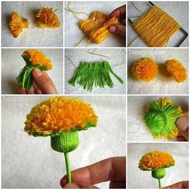 C mo hacer flores diente de le n con hilos de lana - Manualidades en lana ...