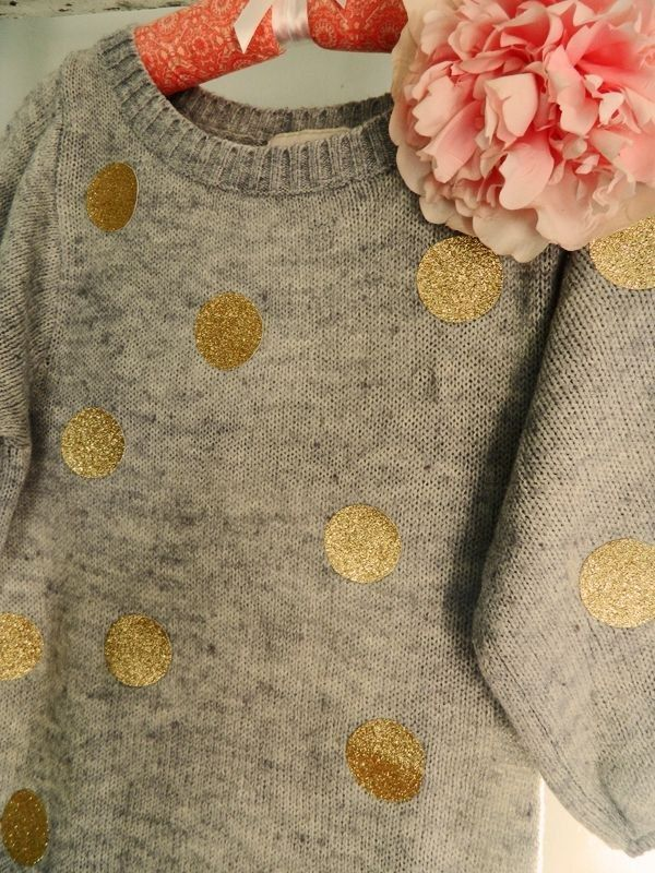 There will always be an overabundance of grandpa sweaters at the thrift store, so why not cover one in metallic polka dots? | 23 Totally Brilliant DIYs Made From Common Thrift Store Finds, by Peggy