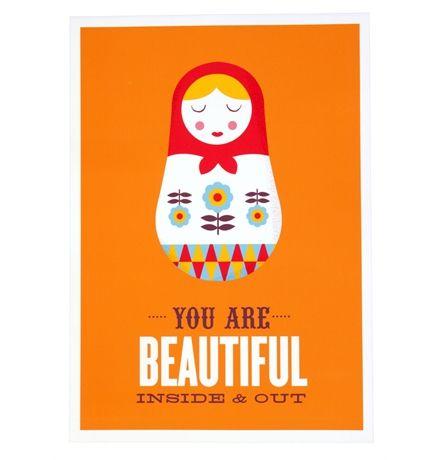 You Are Beautiful Inside & Out - Unframed Print A3 matt blatt $59