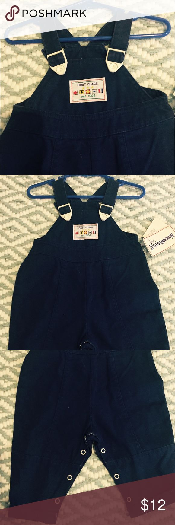 NEW navy overalls 100% cotton SO CUTE⭐️⭐️⭐️ Snap bottoms for easy changing ⭐️⭐️⭐️adorable 😎 no trades buster brown One Pieces