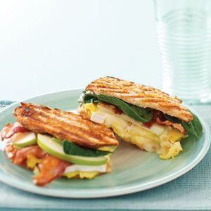 Bistro Breakfast Panini Recipe. Bacon, apple, eggs, spinach and your favorite cheese on sourdough!