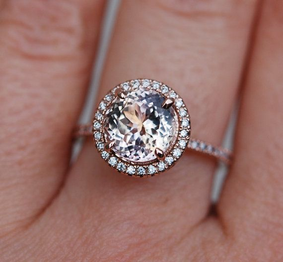 Peach Champagne Sapphire diamond ring 14k rose by EidelPrecious