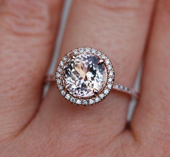 Peach Champagne Sapphire diamond ring 14k rose by EidelPrecious