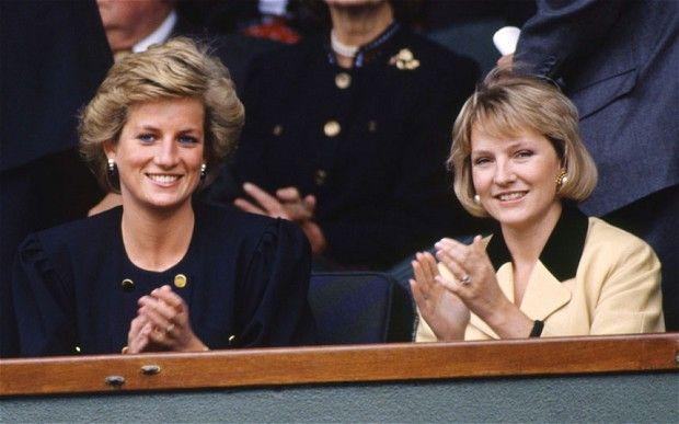 Julia Samuel with Diana, Princess of Wales, at Wimbledon Photo: Alpha…