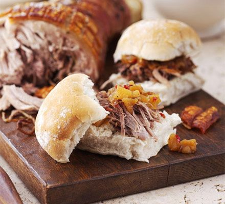 Slow-roast pork rolls with apple chilli chutney - LOVELY! Got a 5 star rating on the website, and I have done this a few times. Takes time cos the pork is slow roasted, but worth it. Really tasty