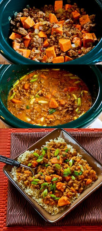 CrockPot Recipe for Sweet and Spicy Ground Turkey and Sweet Potato Stew with Coconut Milk | Homemade Food Recipes