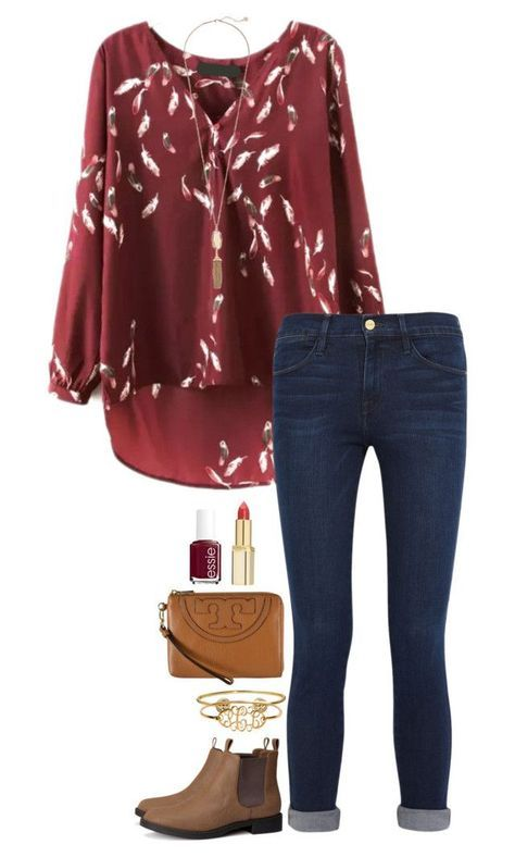 """fall outfit"" by sassy-and-southern ❤ liked on Polyvore featuring Frame Denim, H&M, Kendra Scott, Tory Burch, Essie, L'Oréal Paris and sassysouthernfall"