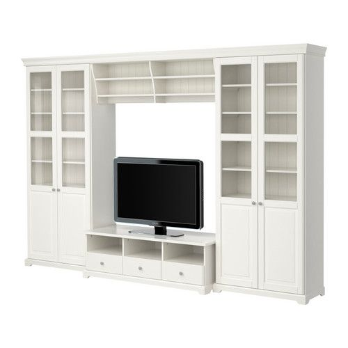 LIATORP TV storage combination IKEA Cornice and plinth rail help create a uniform expression when two or more units are connected together.
